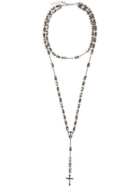 Rosary Bead Stone Necklace, Metallic