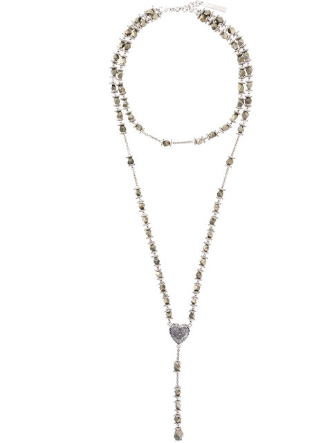 Givenchy Faceted Stone Rosary Necklace - Metallic