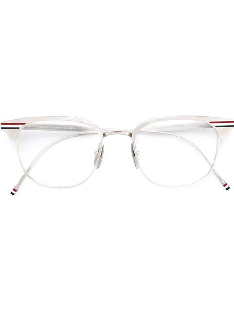 ea8151e405d Thom Browne Eyewear Shiny Silver Optical Glasses - Grey
