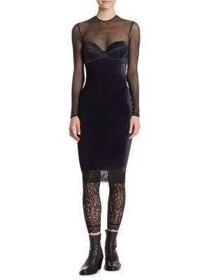 Velvet Dress With Lace, Black