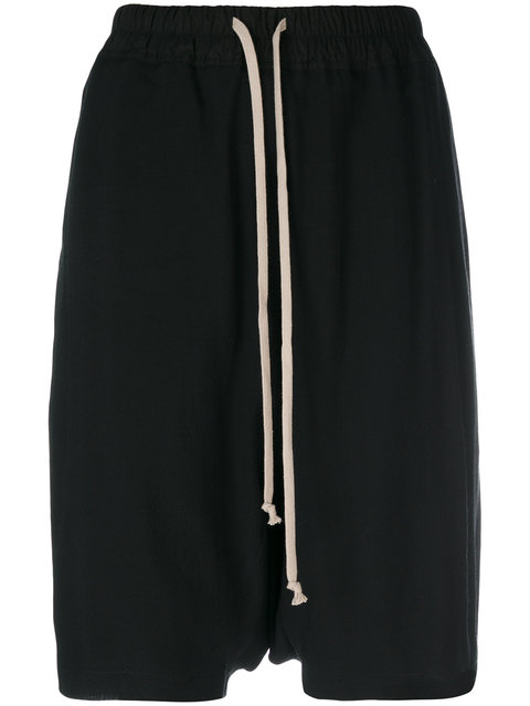 Drawstring Waist Shorts, Black