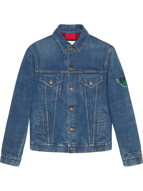 Jacket Denim Jacket With Angry Cat And Blind For Love Maxi Patches in Blue