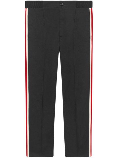 Side-Stripe Wool-Blend Jogging Bottoms in Black