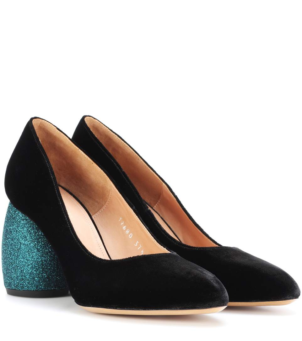 Glitter Sculptural Heel Velvet Pumps in Turquoise