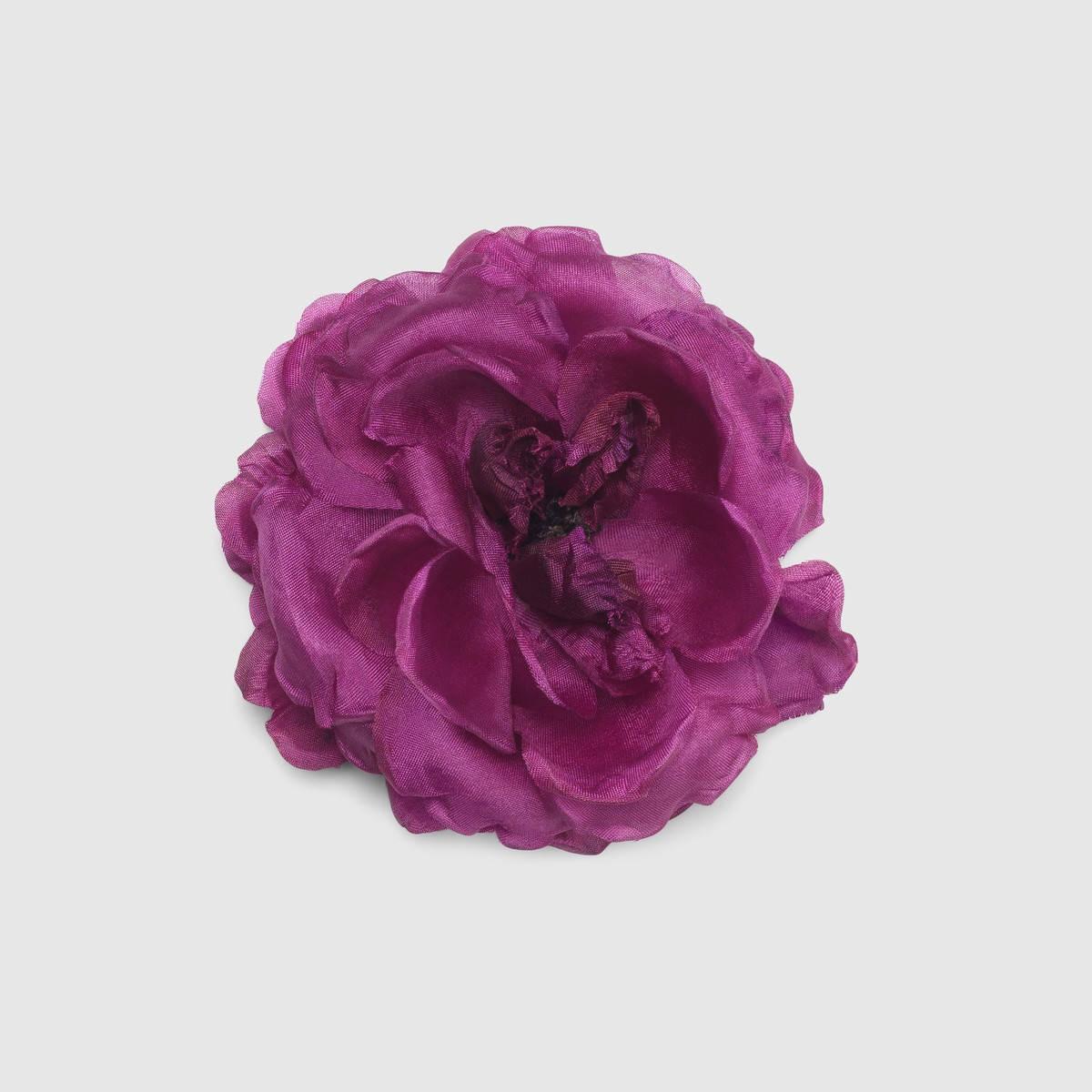 Gucci Flower Pin In Silk Purple Silk Modesens