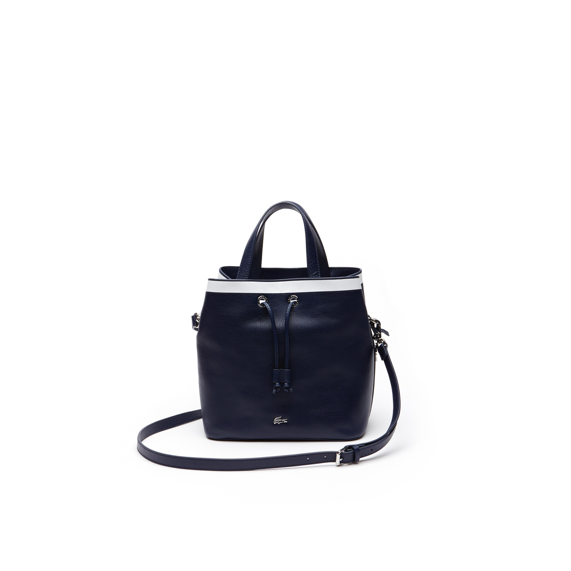 Lacoste Women S Break Point Colorblock Leather Bucket Bag - Peacoat White 2809c6033