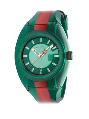 Transparent Nylon & Striped Rubber Strap Watch/Green