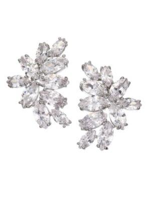 Monarch Mini Cluster Crystal Earrings, Clear
