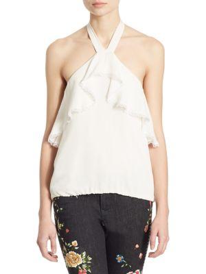 Alice + Olivia Monet Ruffled Silk Halter Top, Cream