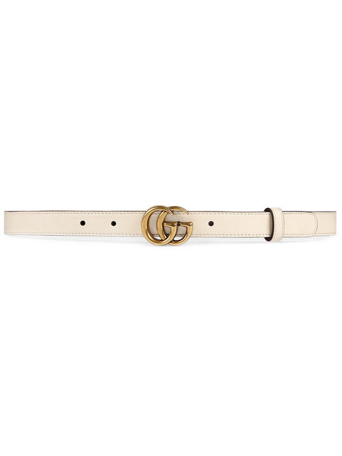 Leather Belt With Double G Buckle in White