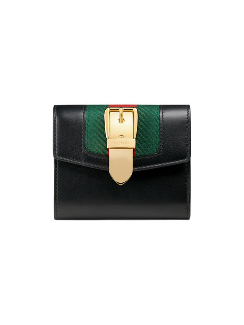 Sylvie Small Leather Wallet in Green