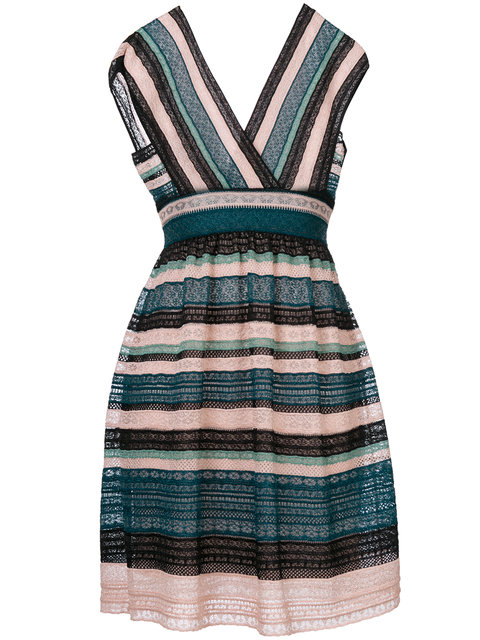 M MISSONI Cap-Sleeve Lace Ribbon Knit A-Line Dress in Teal