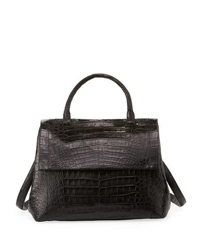 Medium Sophie Genuine Crocodile Top Handle Bag - White, Gray