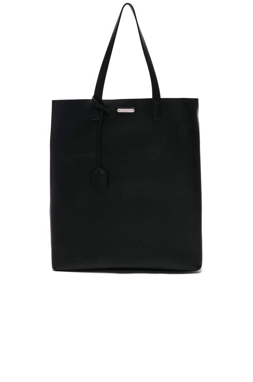 SAINT LAURENT Rectangular Leather Tote Shopper Bag In Navy, Black