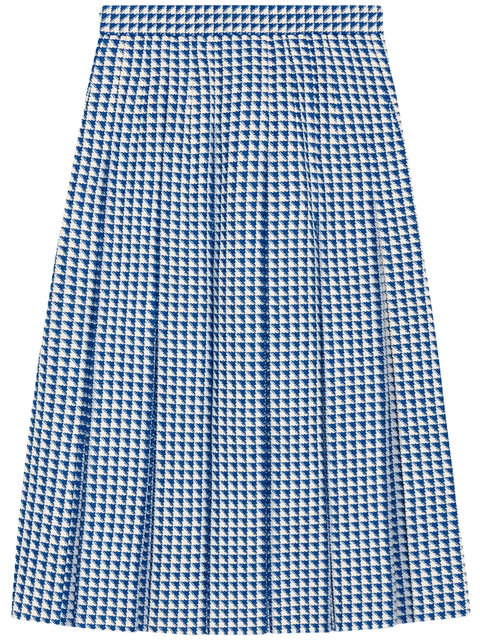 Pleated Houndstooth Wool-Blend Skirt in Blue