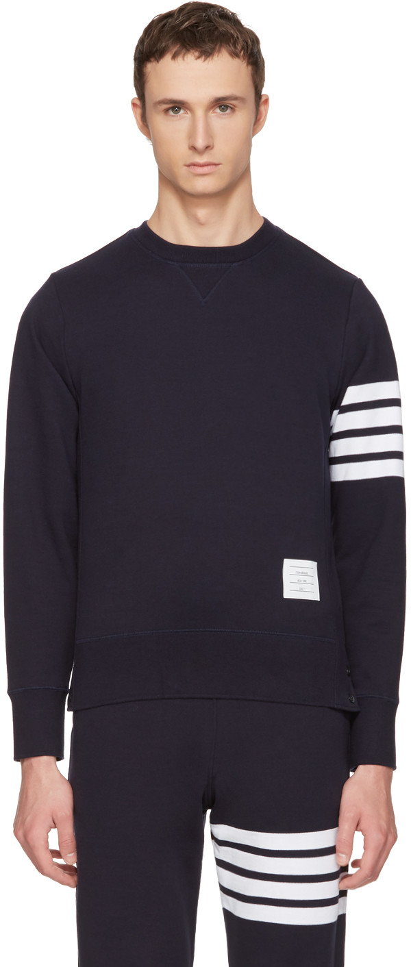 THOM BROWNE Pullover Sweatshirt With Engineered 4-Bar Stripe in Navy