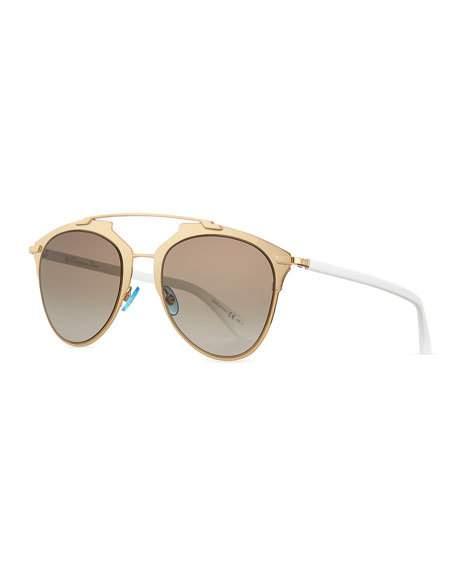 Women'S Reflected Mirrored Brow Bar Aviator Sunglasses, 52Mm in Black