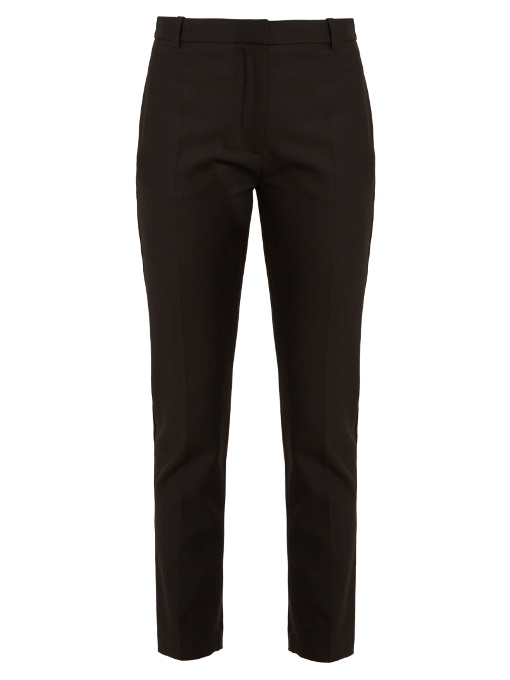Zoom Tapered-Leg Stretch-Twill Trousers in Black