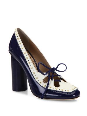 TORY BURCH Cambridge Studded Leather Pumps, Navy Sea