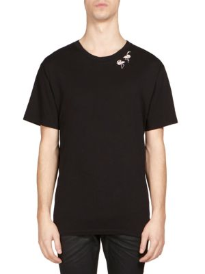 SAINT LAURENT Flamingo Printed Cotton-Jersey T-Shirt in Black