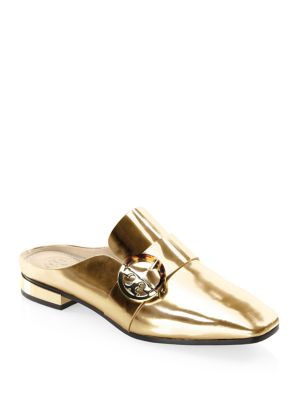ffc14b264a30 TORY BURCH Sidney Spark Gold Metallic Leather Backless Loafers