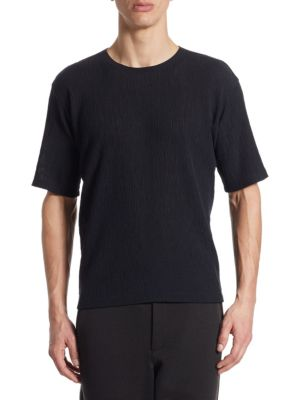 Black Crepe Tuck Jersey T-Shirt Issey Miyake Cheap Sale Low Shipping Clearance Order e5aX0E