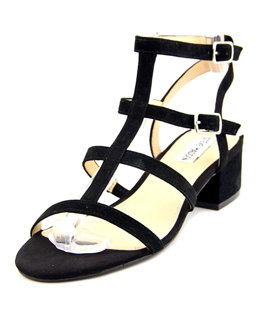 Steve Madden Womens Luccile Open Toe Bridal Ankle Strap Sandals, Black