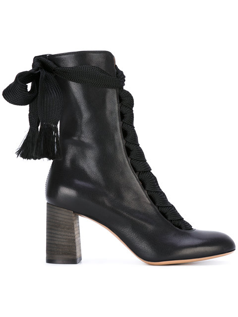 Black Harper 70 Leather Lace Up Boots