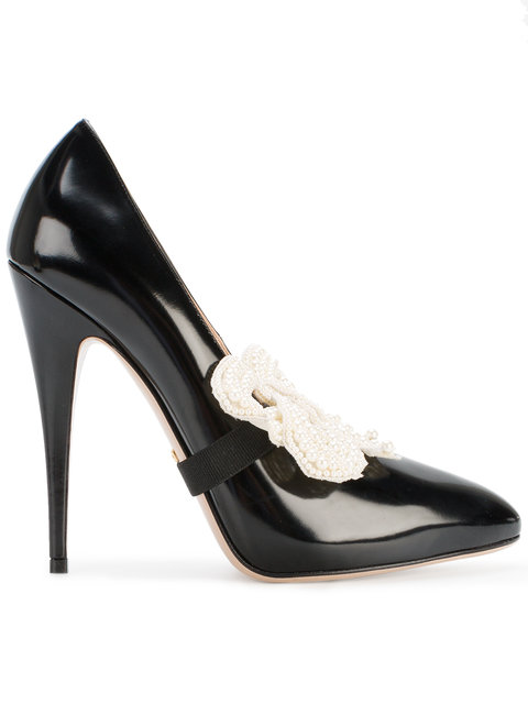 Elaisa Removable Pearly Bow & Leather Point Toe Pumps in Black