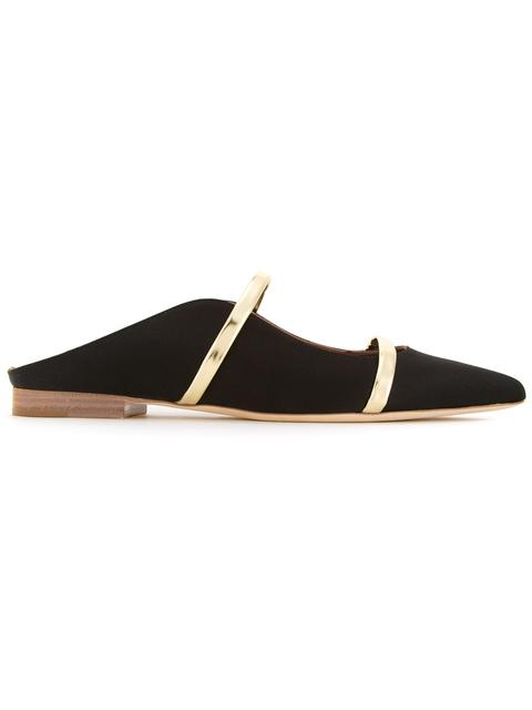 Maureen Metallic Leather-Trimmed Satin Point-Toe Flats in Black