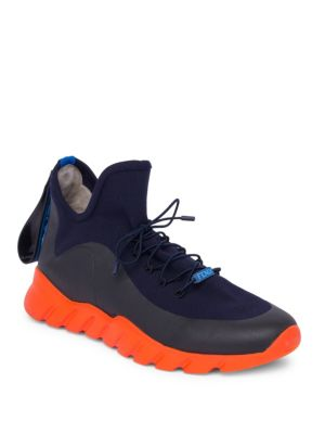 Fendi Top Noir Haut Chaussures De Sport En Tricot - Bleu QhGG0JnUHJ