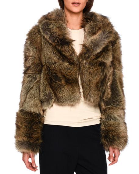 Masha Faux-Fur Chubby Cropped Coat, Gray Fox, Grey Fox