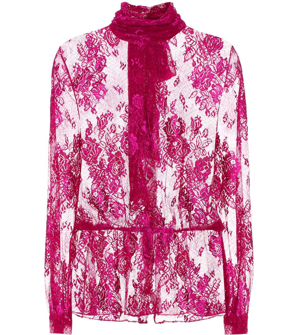 Lavalliere Pussy-Bow Stretch-Lace Blouse in Pink