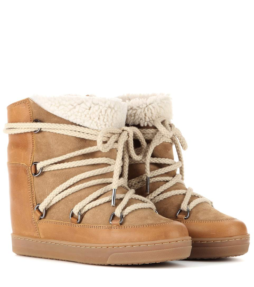 Nowles Shearling Snow Booties, Beige