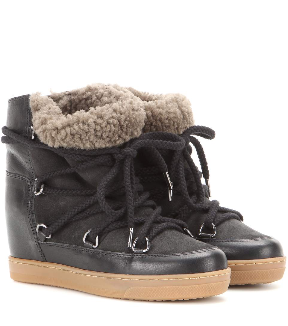Suede Wedge Heel Ankle Boots With Shearling Lining in Black