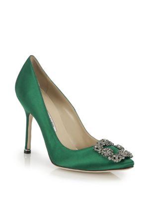 MANOLO BLAHNIK Hangisi 105 Emerald Satin Pump in Green