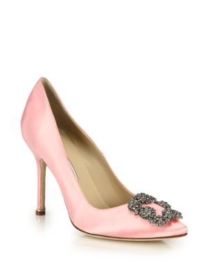 Rise Bow-Embellished Satin Slingback Pumps, Light Pink