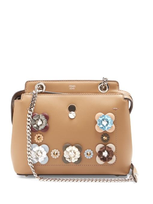 Dotcom Mini Flowerland-Embellished Leather Bag, Tan Multi