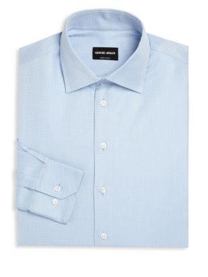 GIORGIO ARMANI Striped Long Sleeve Regular-Fit Dress Shirt in Blue