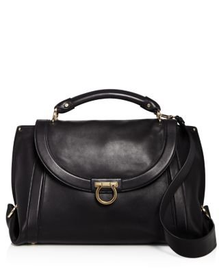 Medium Leather Satchel - Black, Nero