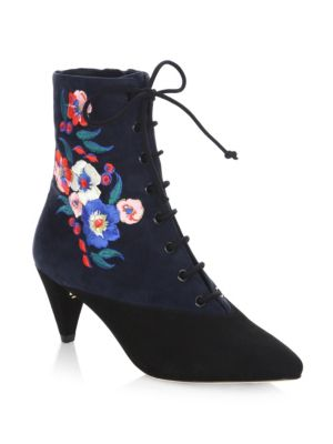Tory Burch Cassidy 45mm Lace Up Embellished Suede Ankle Boots 11 Embroidered
