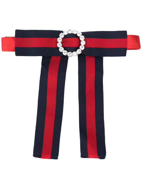 Jewelled Grosgrain Web Neck Bow In Red, Blue
