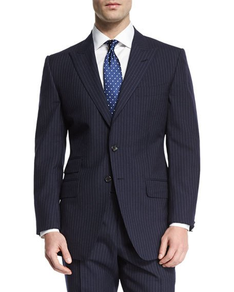 Tom Ford O'Connor Base Peak-Lapel Pinstripe Two-Piece Suit, Navy