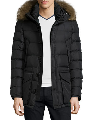 MONCLER Cluny Nylon Puffer Jacket With Fur Hood, Navy, Black ...