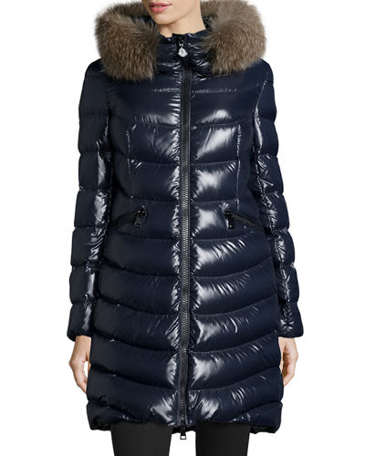 5e21f85aae96 ... best moncler aphia water resistant shiny nylon down puffer coat with removable  genuine fox fur decc1 ...