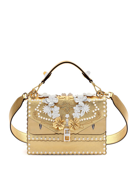 Kan I Floral Monster Top-Handle Shoulder Bag, Gold, White/Gold