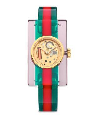 Ya143503 Fashion Capsule Plexiglas Transparent Watch, Gold-Multi