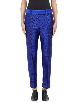 Wool Skinny Jacquard Trouser in Blue