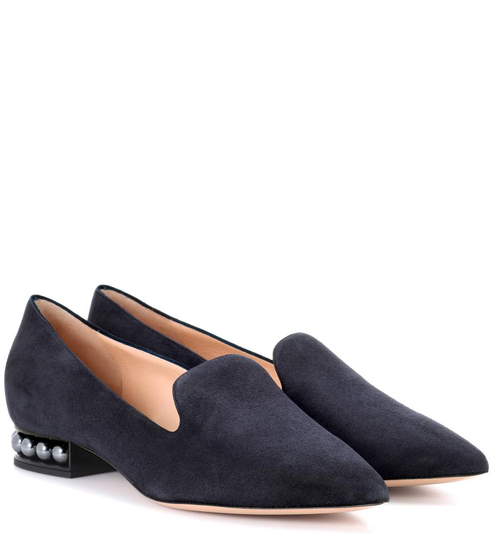 Casati Embellished Suede Loafers, Blue