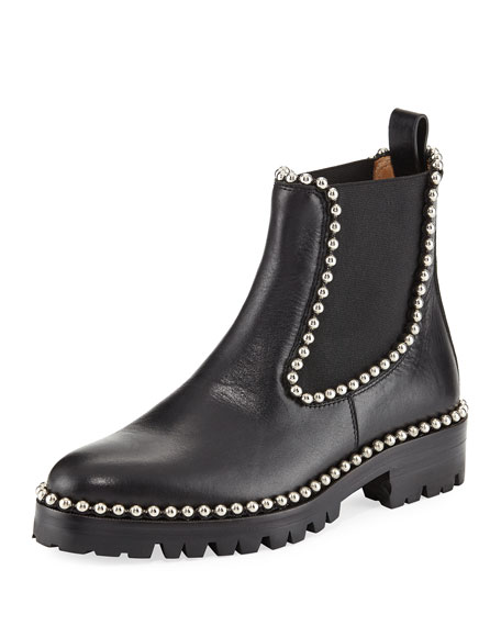 Spencer Ball Chain-Trimmed Leather Chelsea Boots, Black